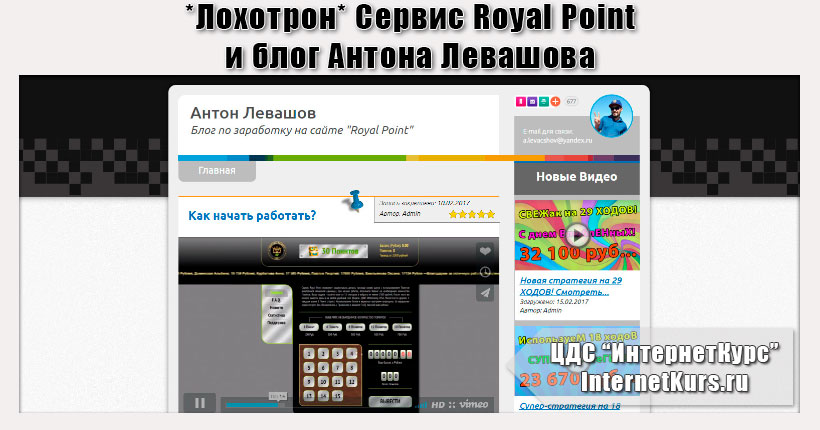 *Лохотрон* Сервис Royal Point и блог Антона Левашова. Отзывы о сайтах